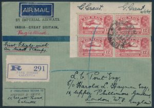 Lot 1565, India 1929 First Day of Issue Airmail stamps on registered FFCs, four covers, sold for C$7,254