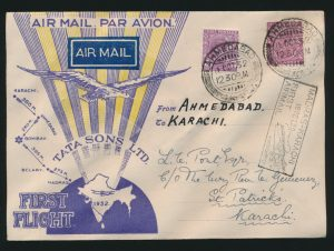 Lot 1580, India 1932 Madras to Karachi First Flight set without Union Jack, sold for C$2,925