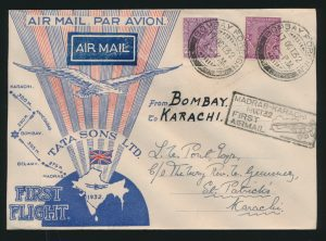 Lot 1581, India 1932 Madras to Karachi first flight set of 20 covers with Union Jack, sold for C$2,925
