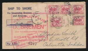 Lot 1633, United States 1927 Bremen Catapult flight cover Newark New Jersey to India, sold for C$3,042