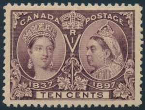 Lot 291, Canada 1897 ten cent brown violet Jubilee, XF NH, sold for C$643