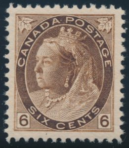 Lot 366, Canada 1898 six cent brown Numeral, XF NH, sold for C$789