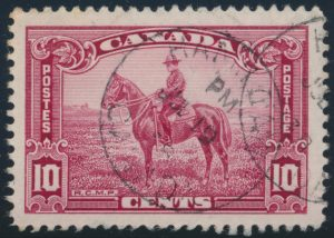 """Lot 541, Canada 1935 ten cent carmine rose Mountie with """"Birdcage"""" variety, used XF, sold for C$409"""