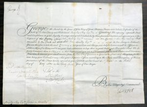 Lot 1101, 1751 Commission Document of Captain Boughey Skey, Québec, signed King George II, sold for C$8,775