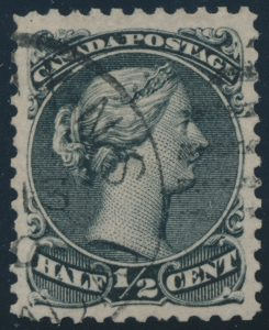 Lot 113, Canada 1873 half cent black Large Queen on unwatermarked Bothwell paper, XF used, sold for C$380