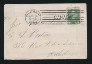 Lot 1206, Montreal 1896 machine cancel, Type M-1 straight line, sold for C$1,579