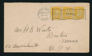 Lot 1214, Canada 1911 Montreal machine cancel type 1-1 Ensign Flag on Small Queen cover, sold for C$1,872