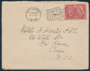 Lot 1258, Ottawa 1898 Type 6-2A Jubilee Flag inverted machine cancel on three cent jubilee cover to USA, sold for C$1,462