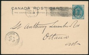 Lot 1282, Canada 1902 X3 experimental machine cancel on card, sold for C$1,989