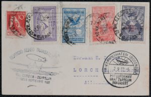 Lot 1531, Group of 47 Graf Zeppelin South American flown covers and cards, sold for C$1,404