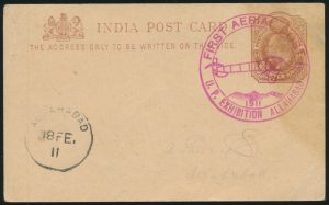 Lot 1548, front of India 1911 stationery postcard from first official Airmail Flight Allahbad to Naini Junction, sold for C$1,404