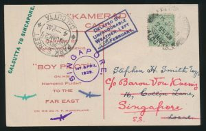 "Lot 1559, India 1929 Berlin to Tokyo flight, Calcutta-Singapore leg, ""Kamerad"" card (back), sold for C$1,556"