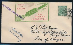 Lot 1593, India 1934-35 Rocket Mail covers, sold for C$1,872