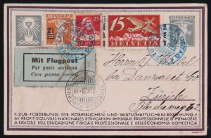 Lot 1623, Switzerland group of 54 First Flight and Airmail covers and cards, 1923-1940ssold for C$1,111