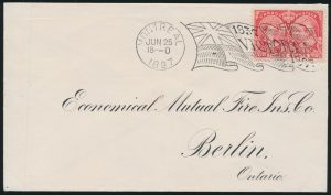 Lot 1226, 1897 three cent Jubilee cover Montréal to Berlin Ontario, (Type 4 Jubilee Flag) five stroke die, sold for C$1,696