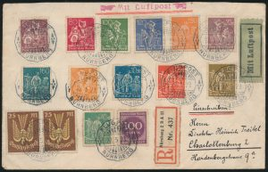 Lot 1515, Germany group of 26 First Flight or Air Mail covers, sold for C$1,287