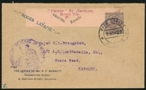 Lot 1557, India 1927 Calcutta to Karachi First Flight Cover (Latapie), sold for C$1,521