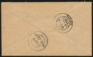 Lot 1557 (back), India 1927 Calcutta to Karachi First Flight Cover (Latapie), sold for C$1,521