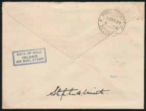 Lot 1566 (back), India 1929 Inland 2a Airmail sheet margin block of four on cover, sold for C$1,111