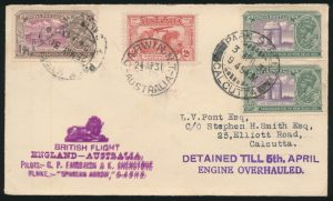 Lot 1572, front of India 1931 Calcutta to Port Darwin Australia Flight Cover, sold for C$1,462