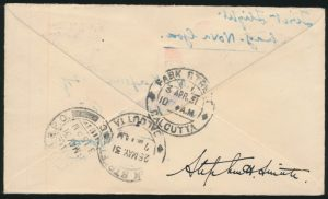 Lot 1572, back of India 1931 Calcutta to Port Darwin Australia Flight Cover, sold for C$1,462