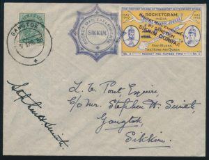 Lot 1592, 1935 Indian Rocket Mail Sikkim Experiments, eight covers, sold for C$877