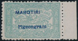 Lot 862, New Zealand MAROTIRI/Pigeongram overprint, sold for C$1,872