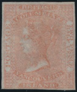 Lot 212 British Columbia & Vancouver Island #1 1860 2½d Dull Rose Queen Victoria Imperforate, VF o.g.