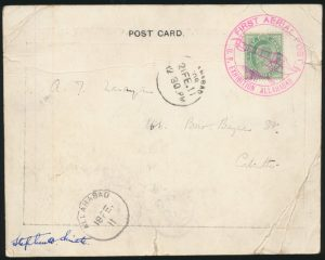 Lot 1547 back, India 1911 world's first offical air mail flight, Allahbad to Naini Junction then Calcutta, sold for C$1989