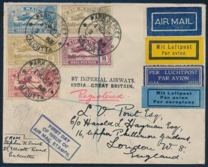 Lot 1564, India 1929 First Day of Issue Airmail flown Registered to England, sold for C$3,744