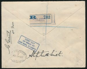 Lot 1564, back of India 1929 First Day of Issue Airmail flown Registered to England, sold for C$3,744