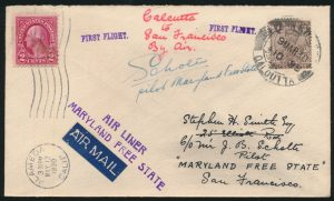 Lot 1567, India 1930 cover from Calcutta to Alameda California, sold for C$1,404