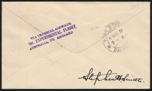 Lot 1573, back of India 1931 Akyab to Calcutta first flight with stamp variety, sold for C$1,462