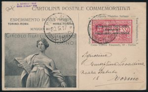 Lot 1596, Italy group of Air Mail or First Flight Covers and Cards, 1917 to 1931, sold for C$1,989