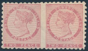 Lot 213, Prince Edward Island two pence dull rose Victoria, horizontal imperf between mint o.g. pair