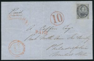 Lot 5, Canada 1851 six pence slate violet Consort on laid paper, on folded cover Montreal to Philadelphia