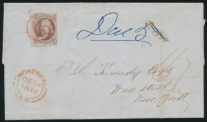 Lot 1, 1849 folded letter franked with five cent red brown Franklin, Montréal to New York.