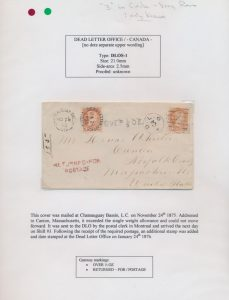 Lot 1111, group of four better early Canada Dead Letter Office covers