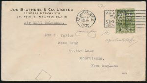Lot 1198, Newfoundland 1930 Columbia flight cover, Harbour Grace to London