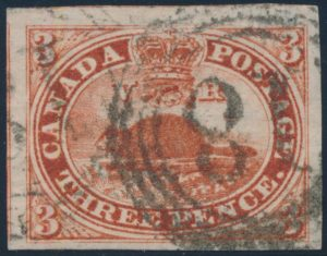 Lot 13, Canada 1852 three pence deep red Beaver on thick hard paper, XF used with Kingston 4-ring