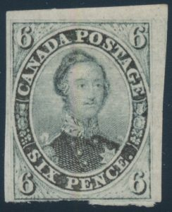 Lot 14, Canada 1855 six pence slate grey Consort, Fine mint o.g.