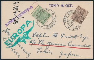Lot 1429, 1928 Calcutta via Berlin to Tokyo flight cover