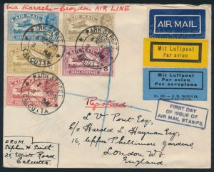 Lot 1439, 1929 India First Day Flown Registered Cover Calcutta to London