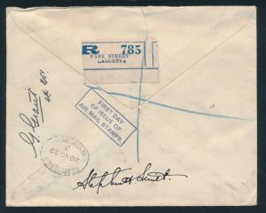 Back of Lot 1439, 1929 India First Day Flown Registered Cover Calcutta to London