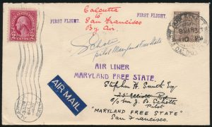 Lot 1453, 1930 First Flight Cover from Calcutta to Alameda California