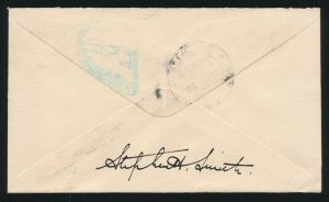 Lot 1453, 1930 First Flight Cover from Calcutta to Alameda California (back)