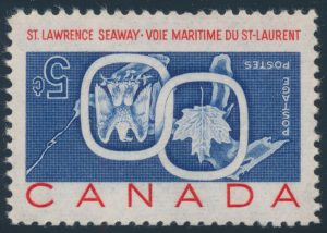 Lot 190 Canada #387a 1959 5c St Lawrence Seaway with Inverted Centre, mint never hinged