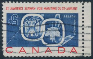 Lot 191 Canada #387a 1959 5c St Lawrence Seaway with Inverted Centre, a used sheet margin single, with the usual machine cancel, very fine