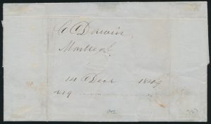 Back of Lot 1, 1849 folded letter franked with five cent red brown Franklin, Montréal to New York.