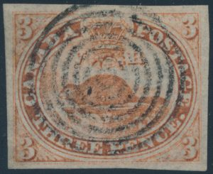 Lot 2, Canada three penny red Beaver on laid paper, XF used.